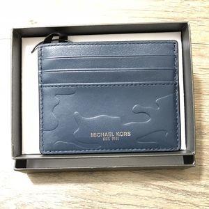 Michael Kors Tall Card Case Wallet Navy